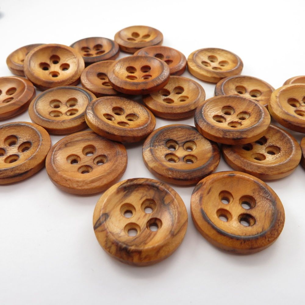 Burnt Olive Wood Concave Buttons 20mm