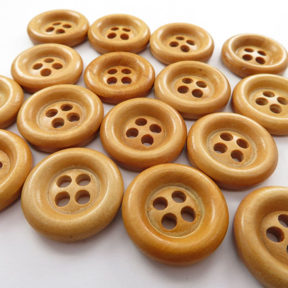 21mm Chunky Olive Wood Buttons