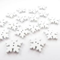 White Wooden Snowflake Christmas Buttons - 18mm / 10 pack
