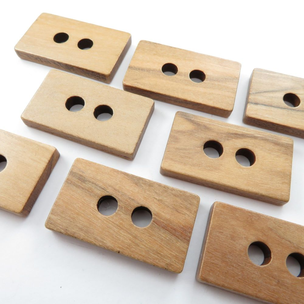Rectangle Olive Wood Buttons 35mm