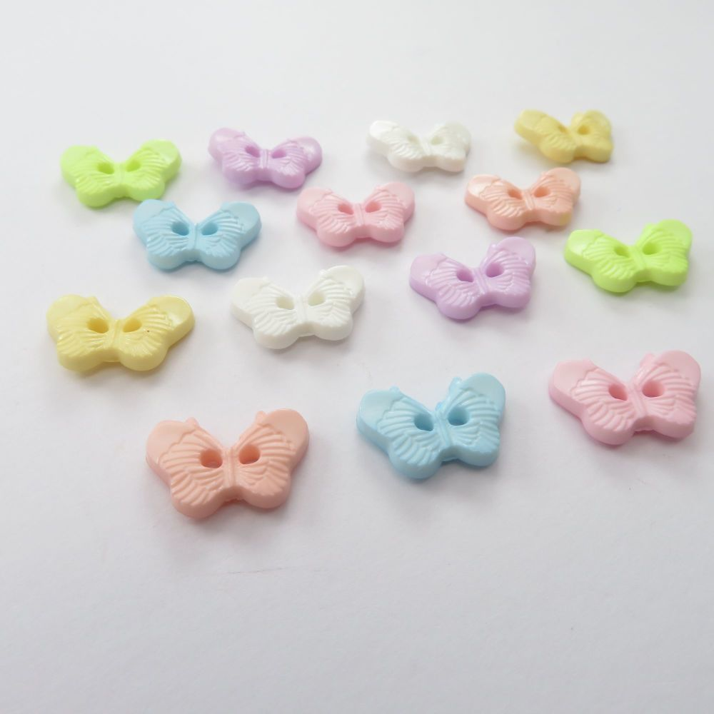 Mini Pastel Butterfly Buttons