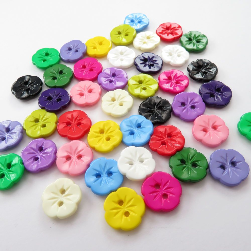 12mm Pansy Flower Shaped Buttons