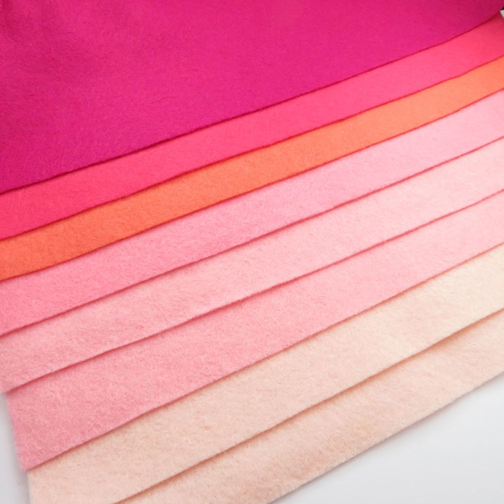 30% Wool Blend Felt Collection - Pink Ombre