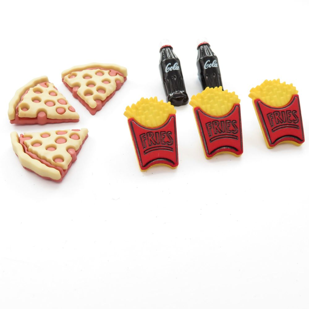 Dress It Up Button Pack - Button Fun - Fries, Cola and Pizza