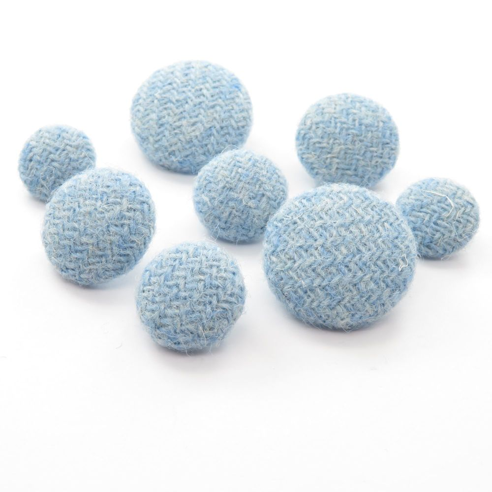 Harris Tweed Buttons - Baby Blue