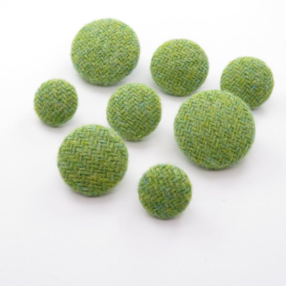 Harris Tweed Buttons - Lime Green and Lemon