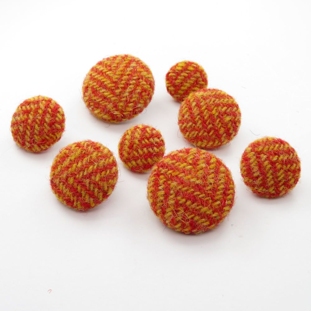 Harris Tweed Buttons - Strawberry Red and Yellow Herringbone