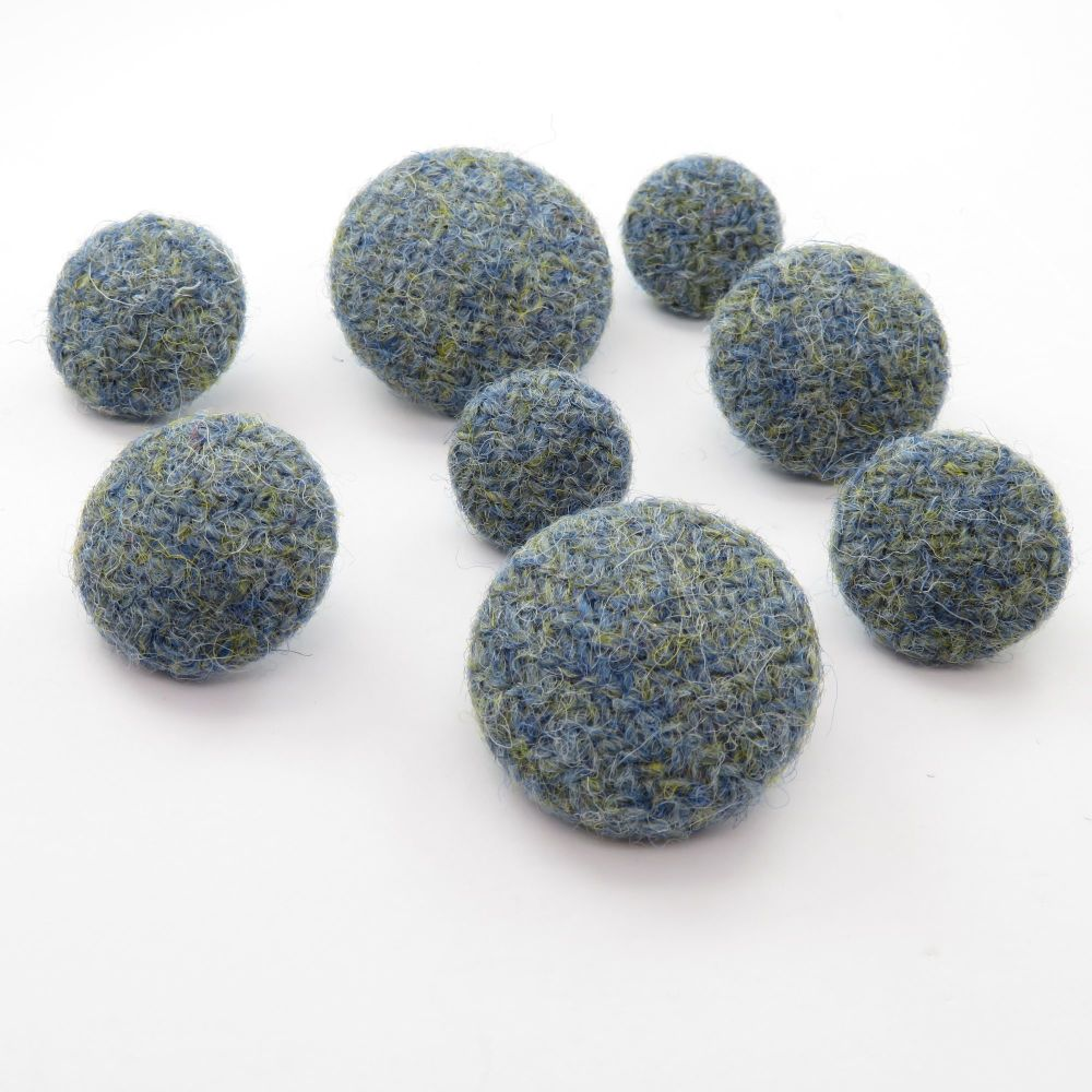 Harris Tweed Buttons - Duck Egg Blue and Green