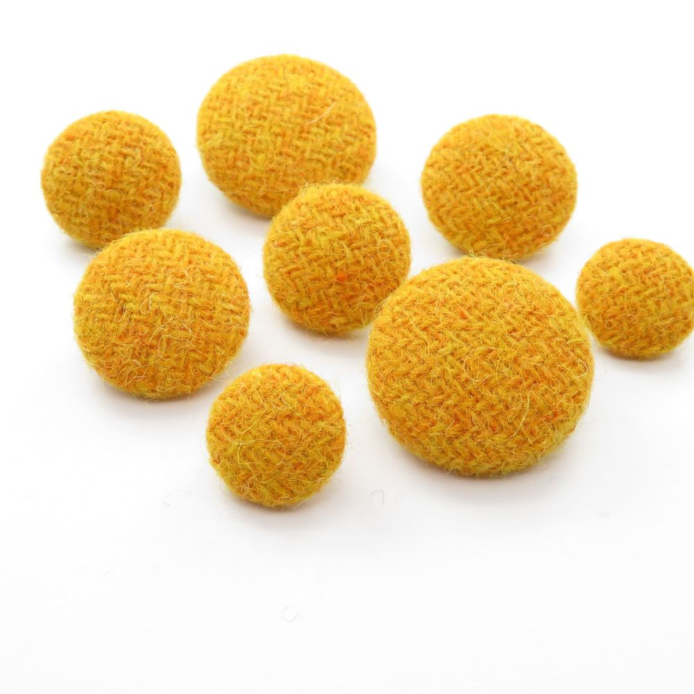 Harris Tweed Buttons - Plain Yellow