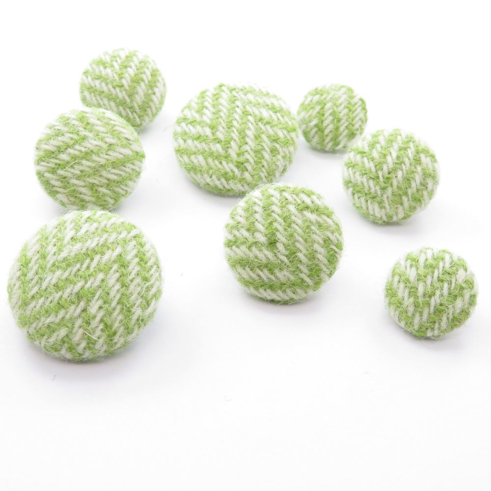 Harris Tweed Buttons - Lime and White Herringbone