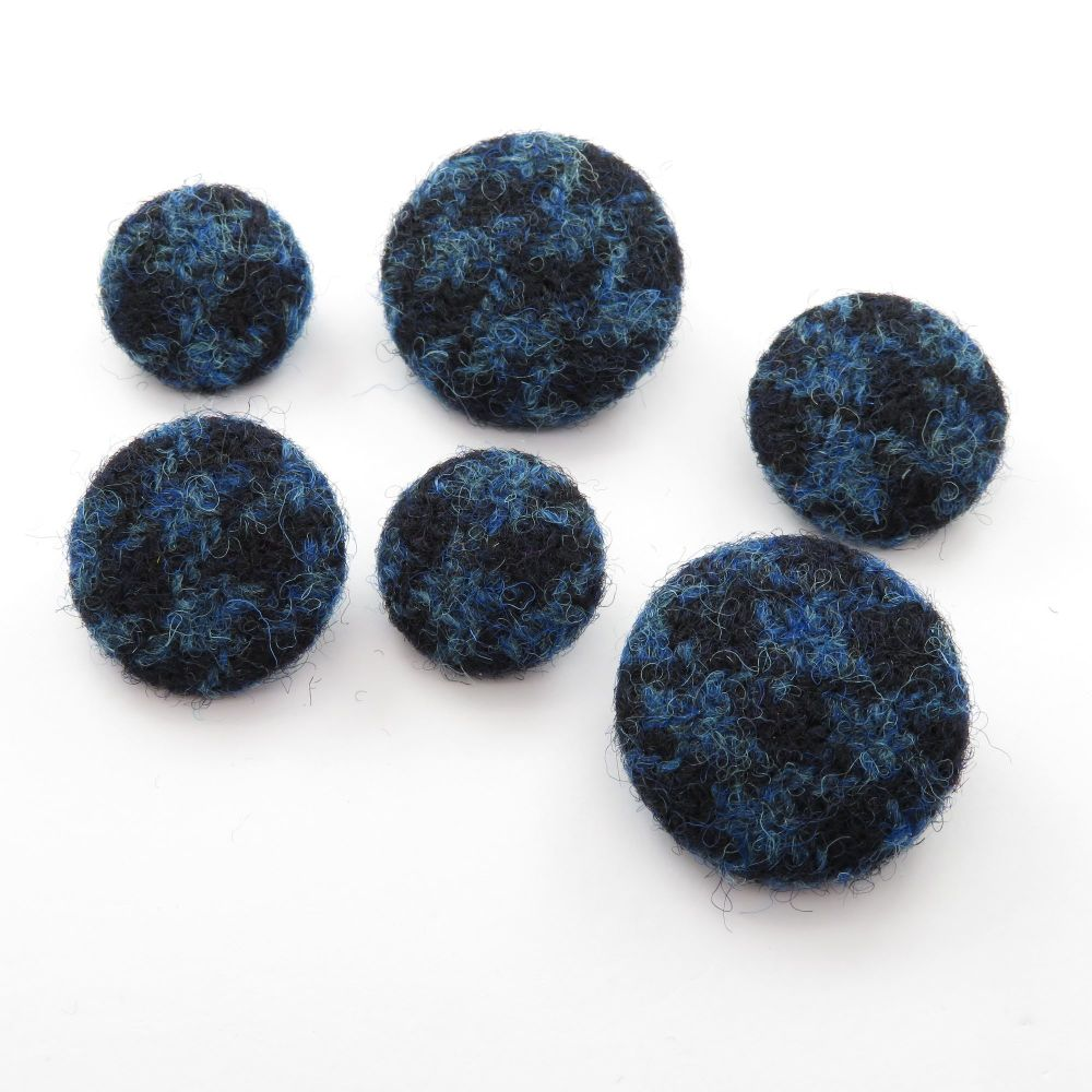 Harris Tweed Buttons - Blue & Navy Houndstooth
