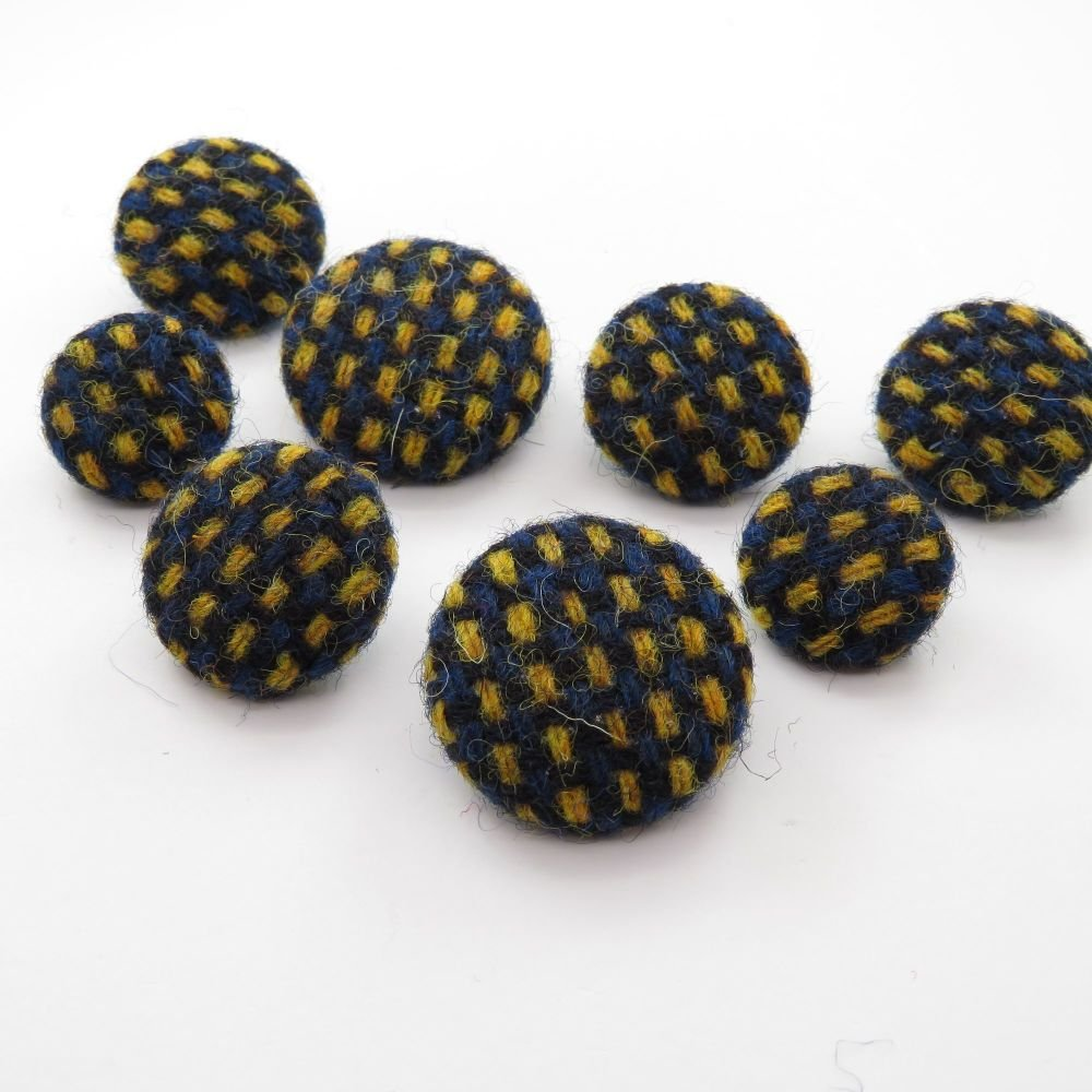 Harris Tweed Buttons - Navy Blue/ Daffodil Squares Pattern