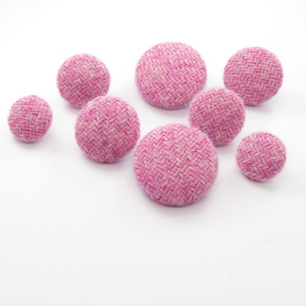 Harris Tweed Buttons - Baby Pink