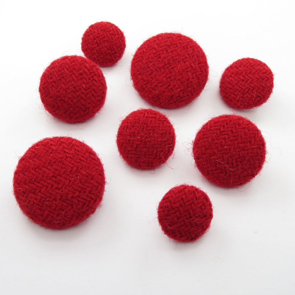 Harris Tweed Buttons - Berry Red