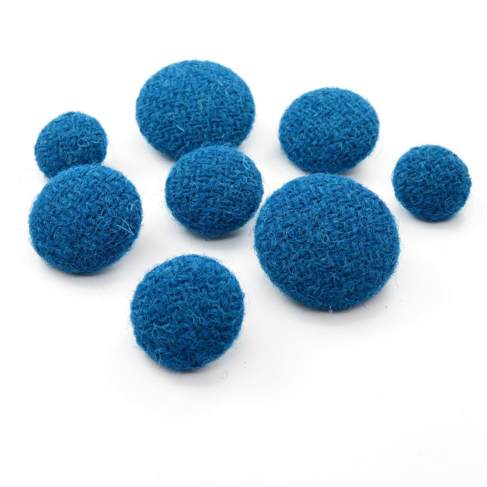 Harris Tweed Buttons - Kingfisher Blue