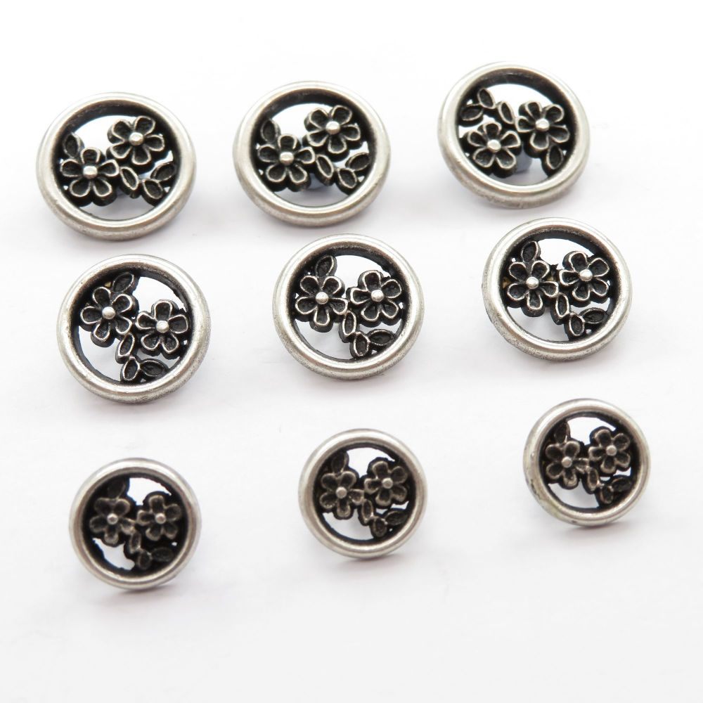 Intricate Flower Design Metal Buttons