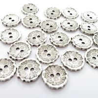 23mm Antique Silver Shell Effect Metal Buttons