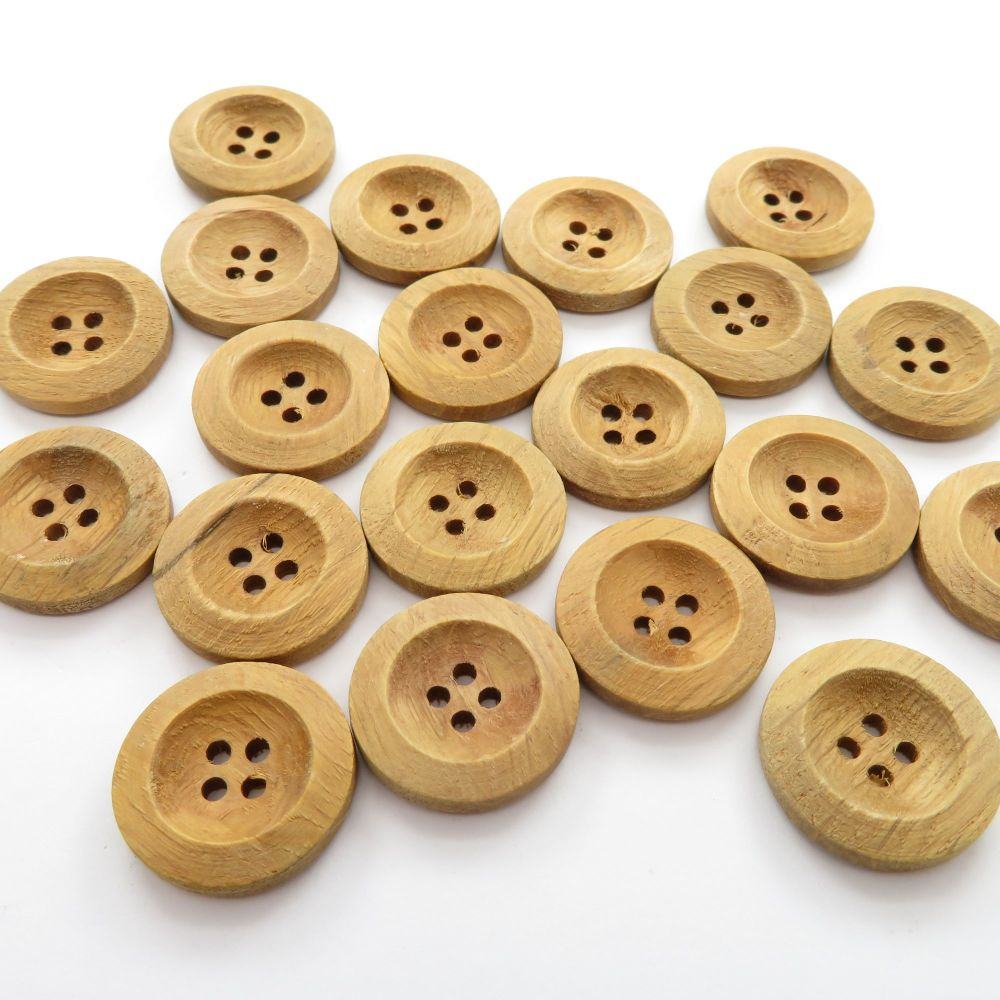 20mm Rimmed Coffee Wooden Buttons - 6 pack