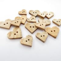 Detailed Wooden Heart Shaped Buttons - 2 sizes