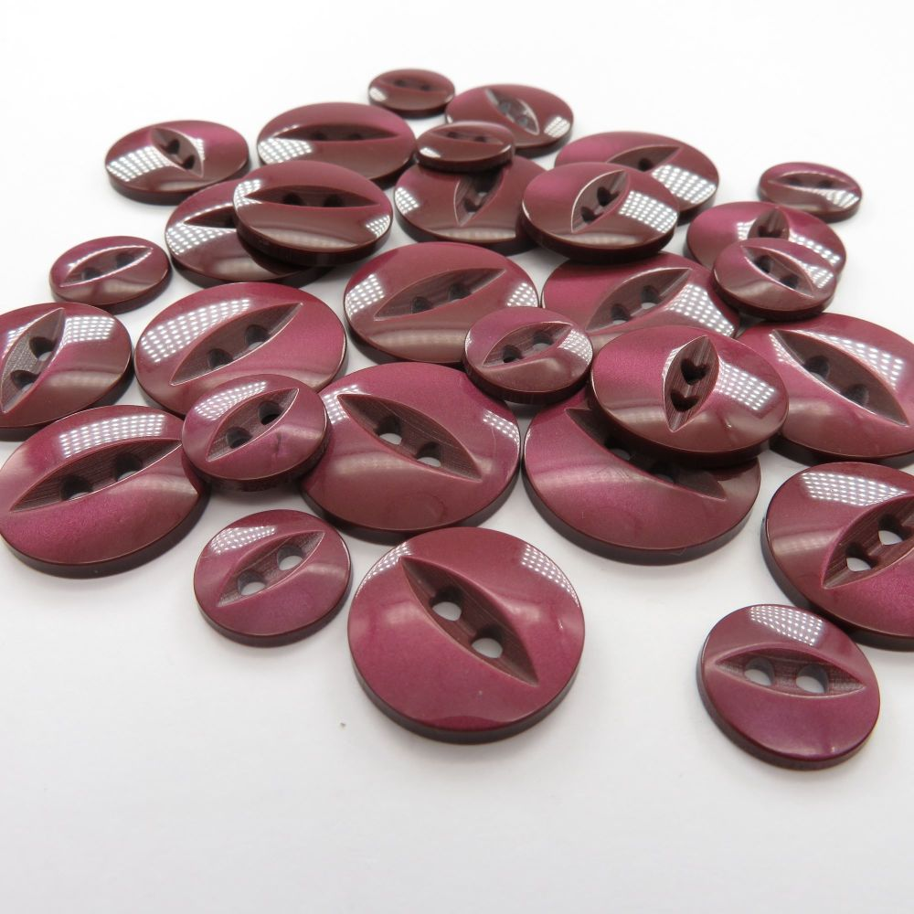 Fish Eye Buttons - Wine
