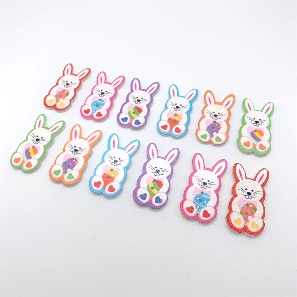 Novelty Wooden Easter Bunny Buttons (12pk)