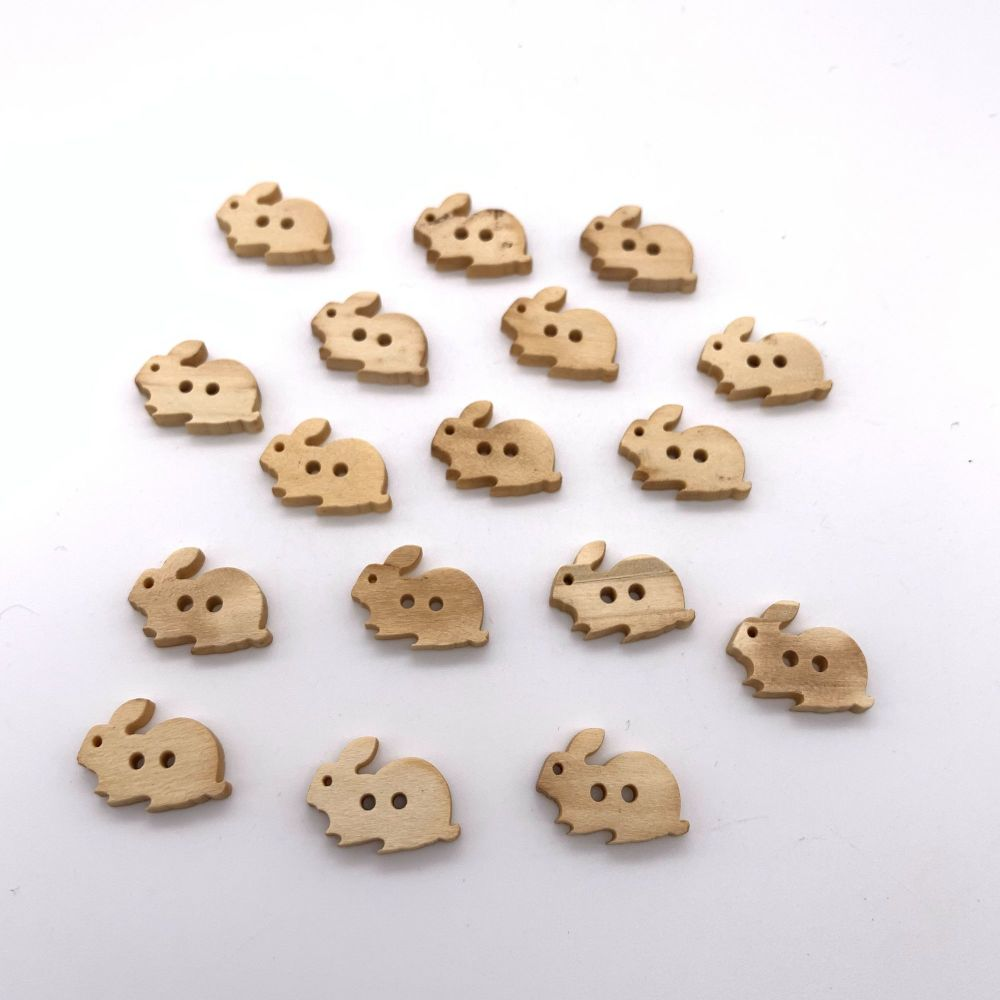 18mm Wooden Bunny Rabbit Shaped Buttons