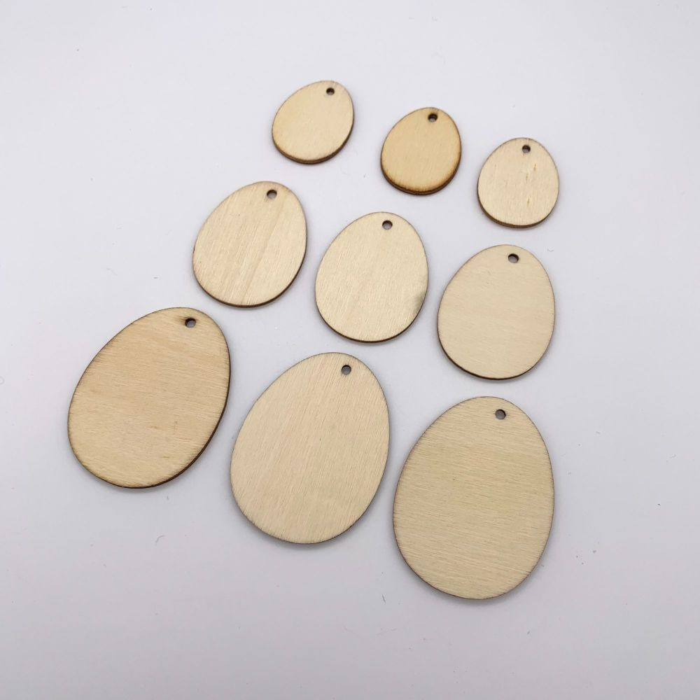 Wooden Easter Egg Hanging Embellishments - 3 Sizes - 9 Pack