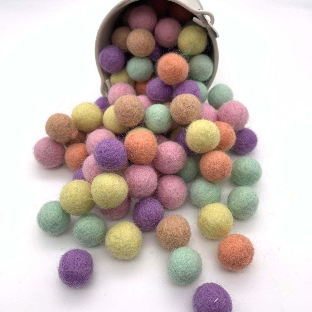 Spring & Easter Inspired Wool Felt Balls Mix - 3 Sizes