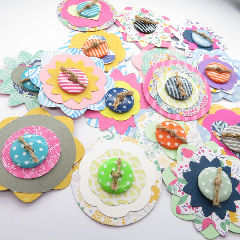 Summer Bright's Inspired Scrapbook/ Journal/ Gift Tag Card Flower Shapes