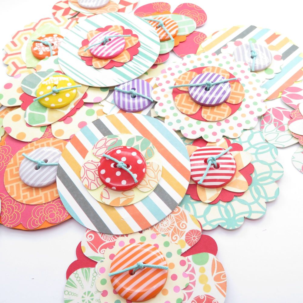 Citrus Brights Inspired Scrapbook/ Journal/ Gift Tag Card Flower Shapes