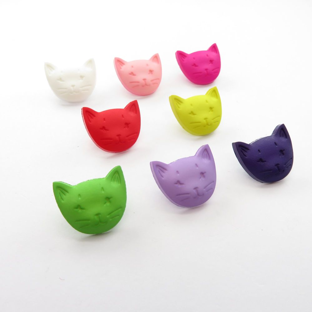 Cat Head Shank Buttons - 8 colours