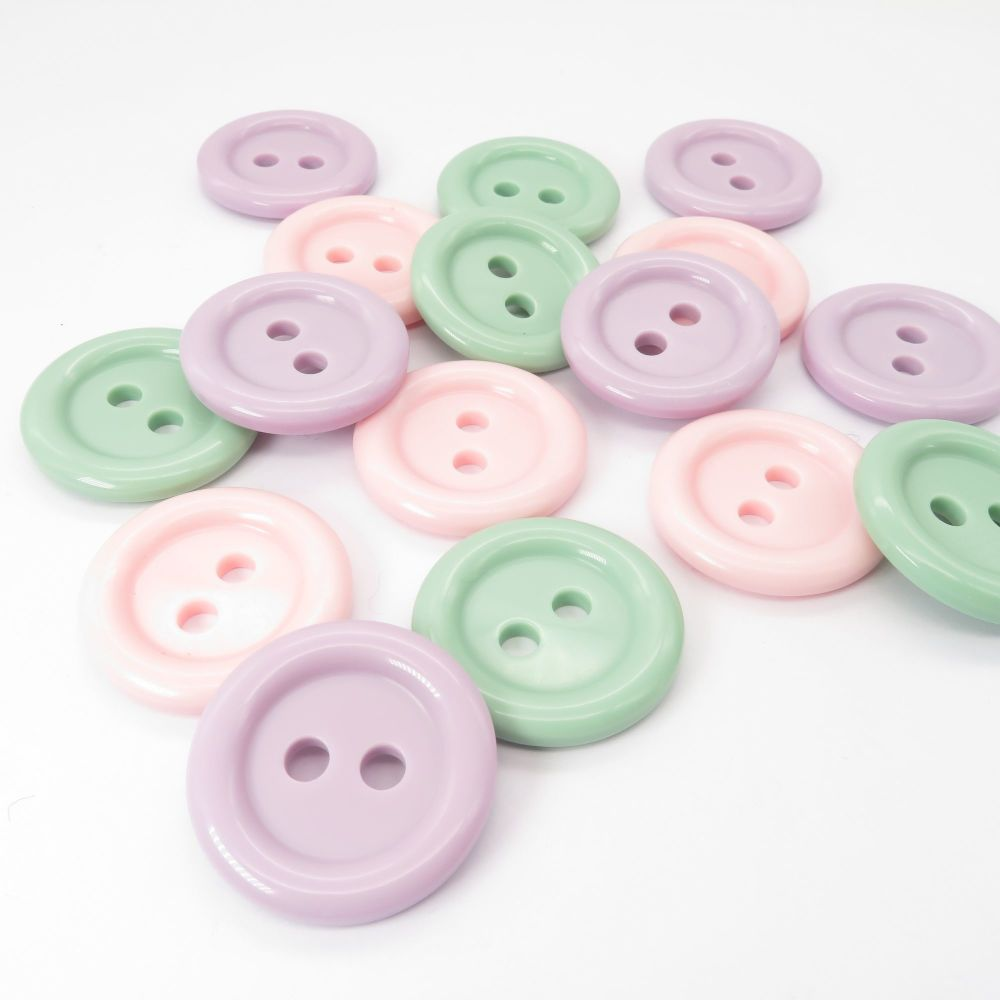 Pastel 23mm Domed Buttons - Lilac, Mint and Pink