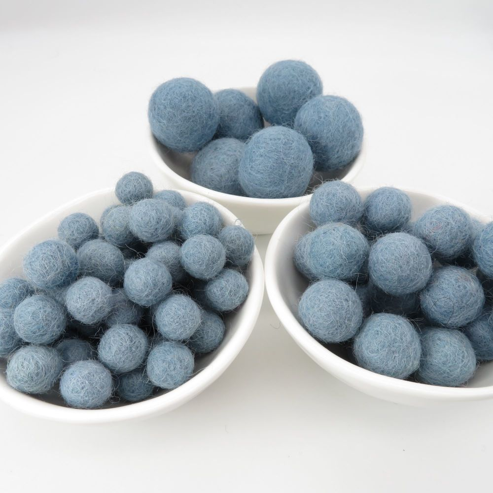 100% Wool Felt Balls - Smoke Blue