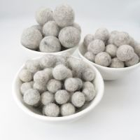 100% Wool Felt Balls - Light Grey Marl