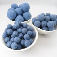 100% Wool Felt Balls - Steel Blue
