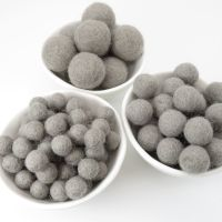 100% Wool Felt Balls - Seal Grey