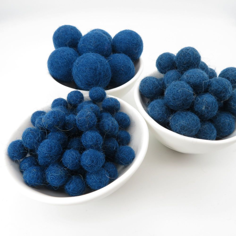 100% Wool Felt Balls - Midnight Blue