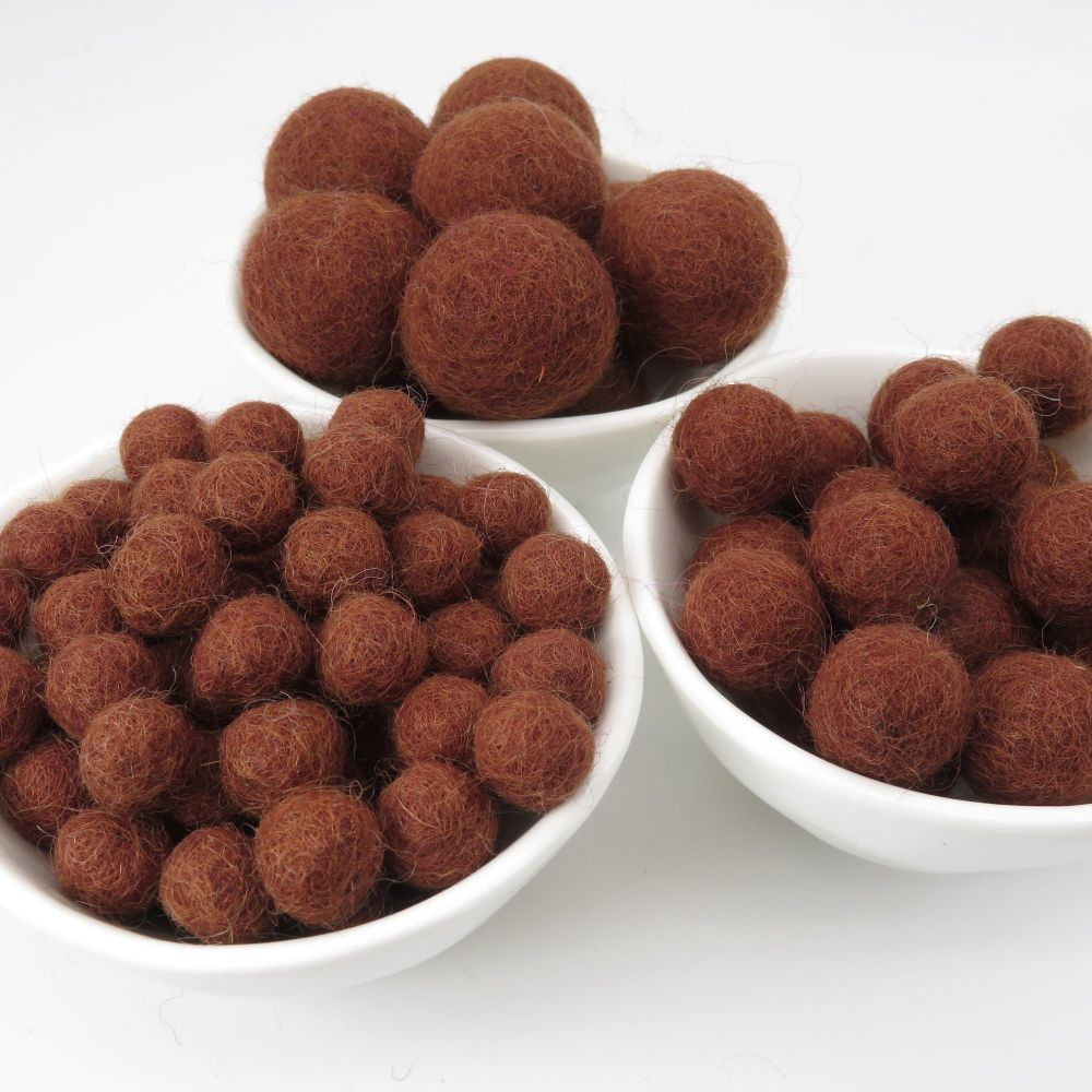 100% Wool Felt Balls - Chocolate