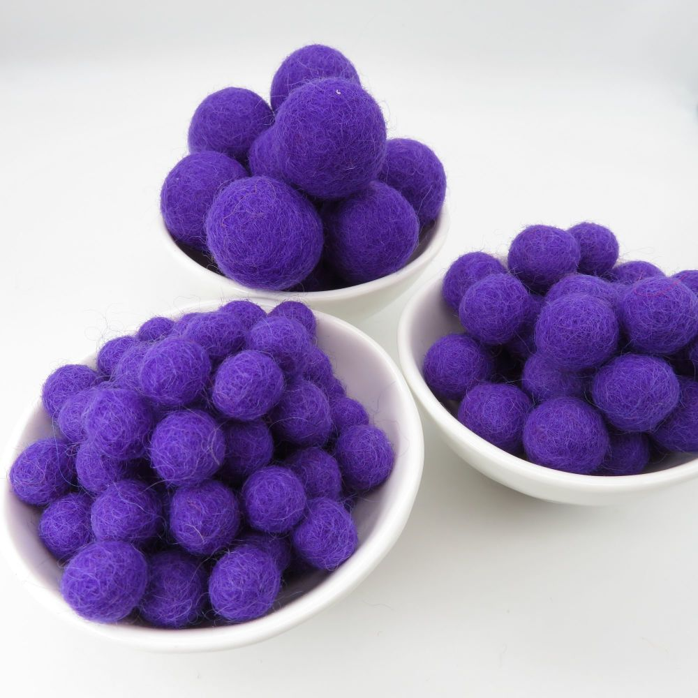 100% Wool Felt Balls - Purple
