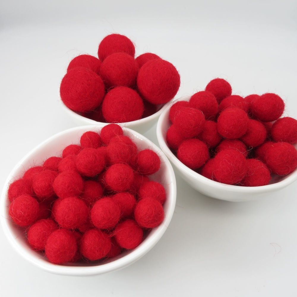 100% Wool Felt Balls - Poppy Red