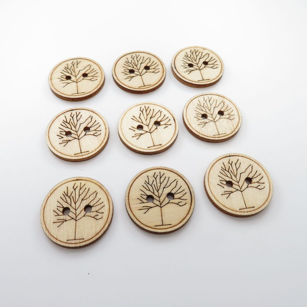 25mm Laser Engraved Tree Wooden Buttons - 10 pack