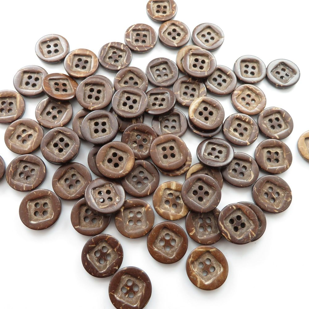 15mm Square Inlay Coconut Shell Buttons