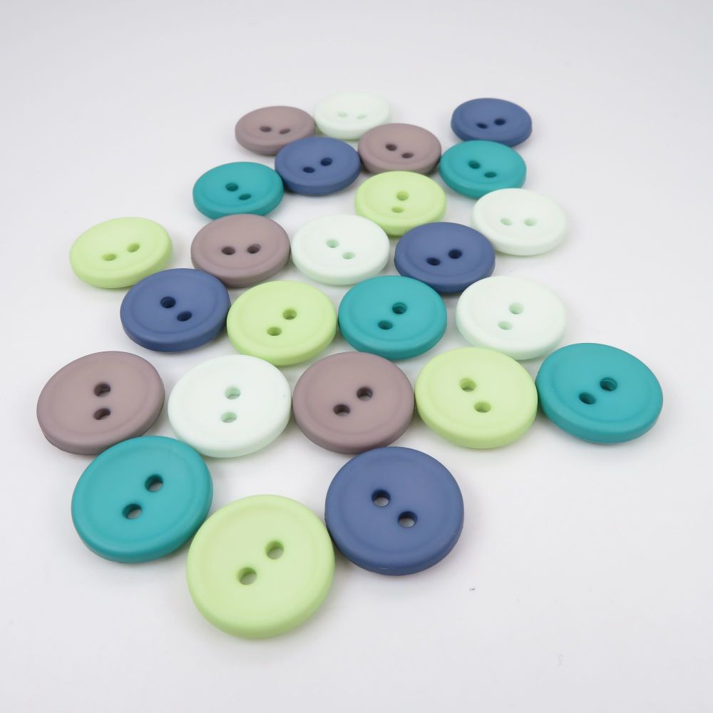 18mm Matte Concave Button Collection - Sea Breeze