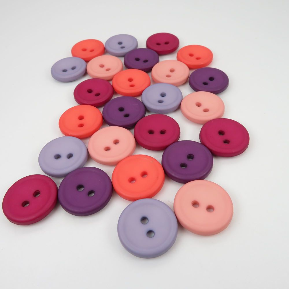 18mm Matte Concave Button Collection - Berry Twist