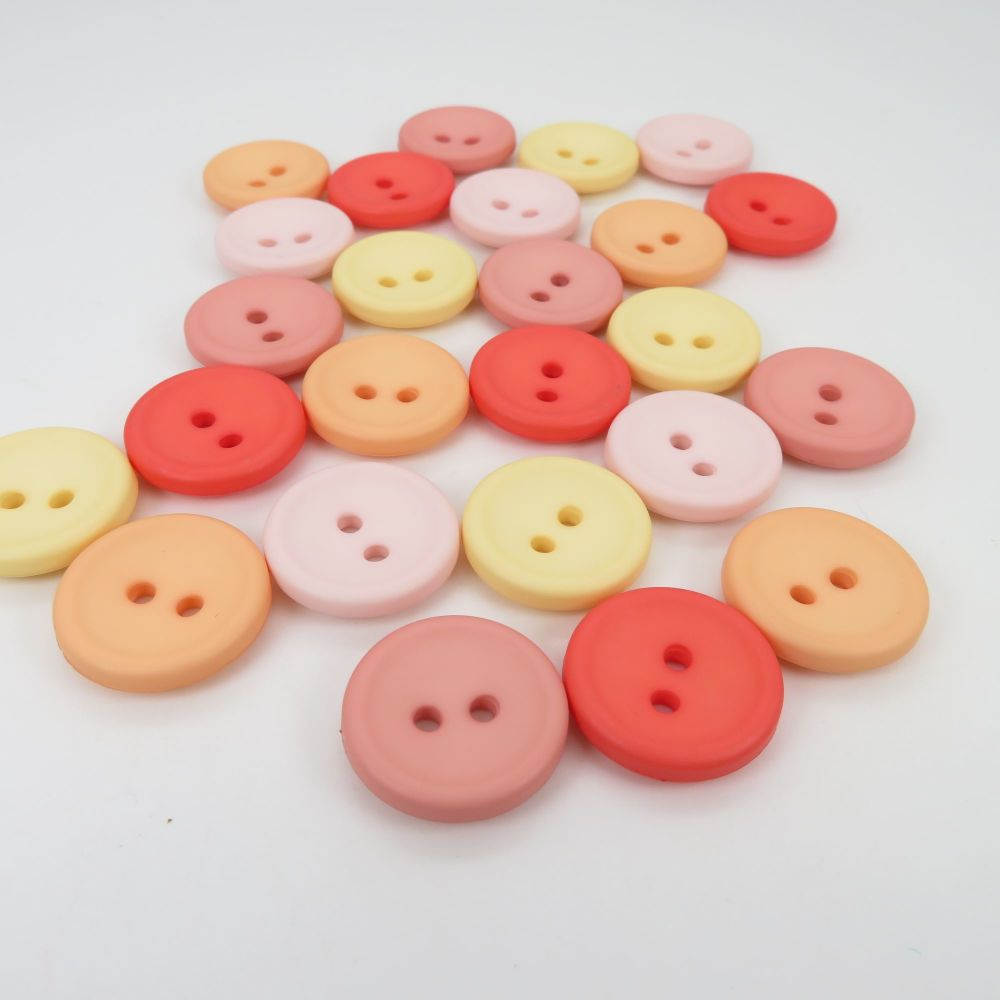 18mm Matte Concave Button Collection - Apricot Twist