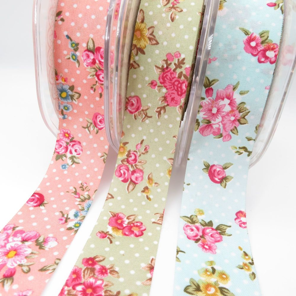 25mm Floral Polka Dot Ribbon