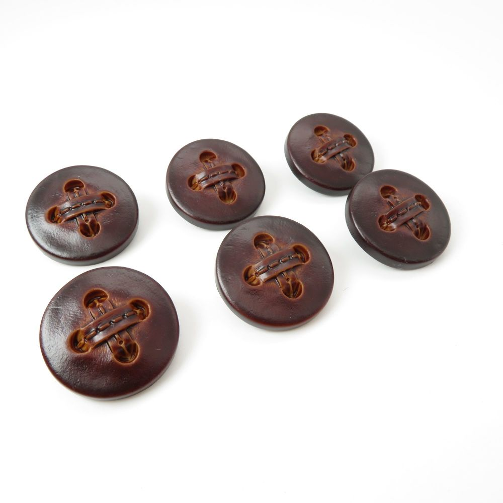 Leather Stitch Effect Shank Buttons