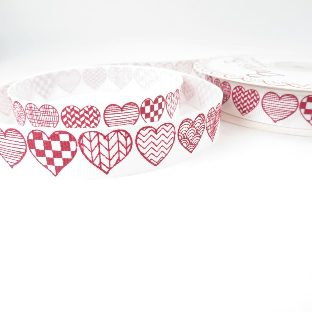Bertie's Bows Patterned Heart Print Grosgrain Ribbon