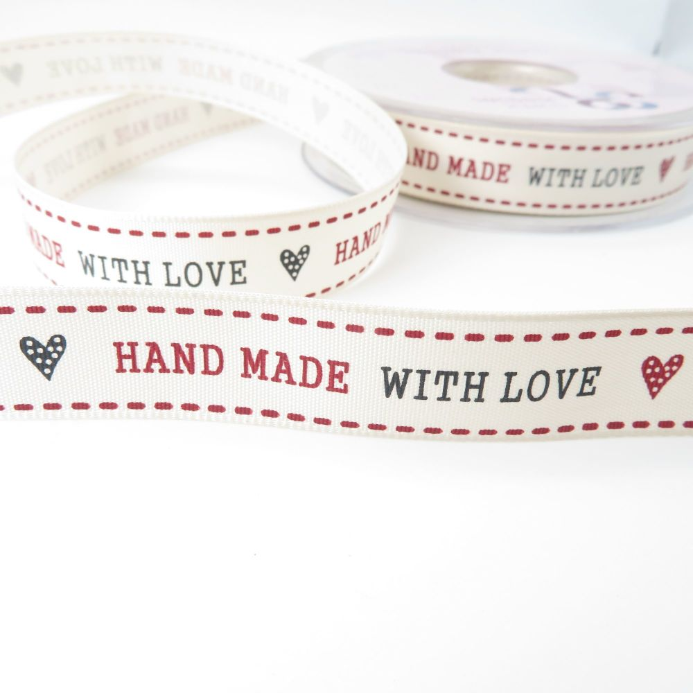 15mm Handmade with Love Grosgrain Ribbon