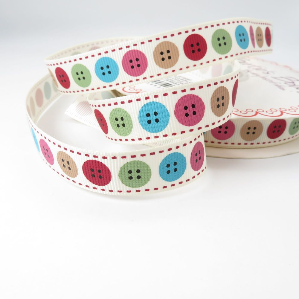 Bertie's Bows Vintage Button print grosgrain ribbon